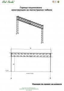 Метална конструкция - стълб за магистрални табели